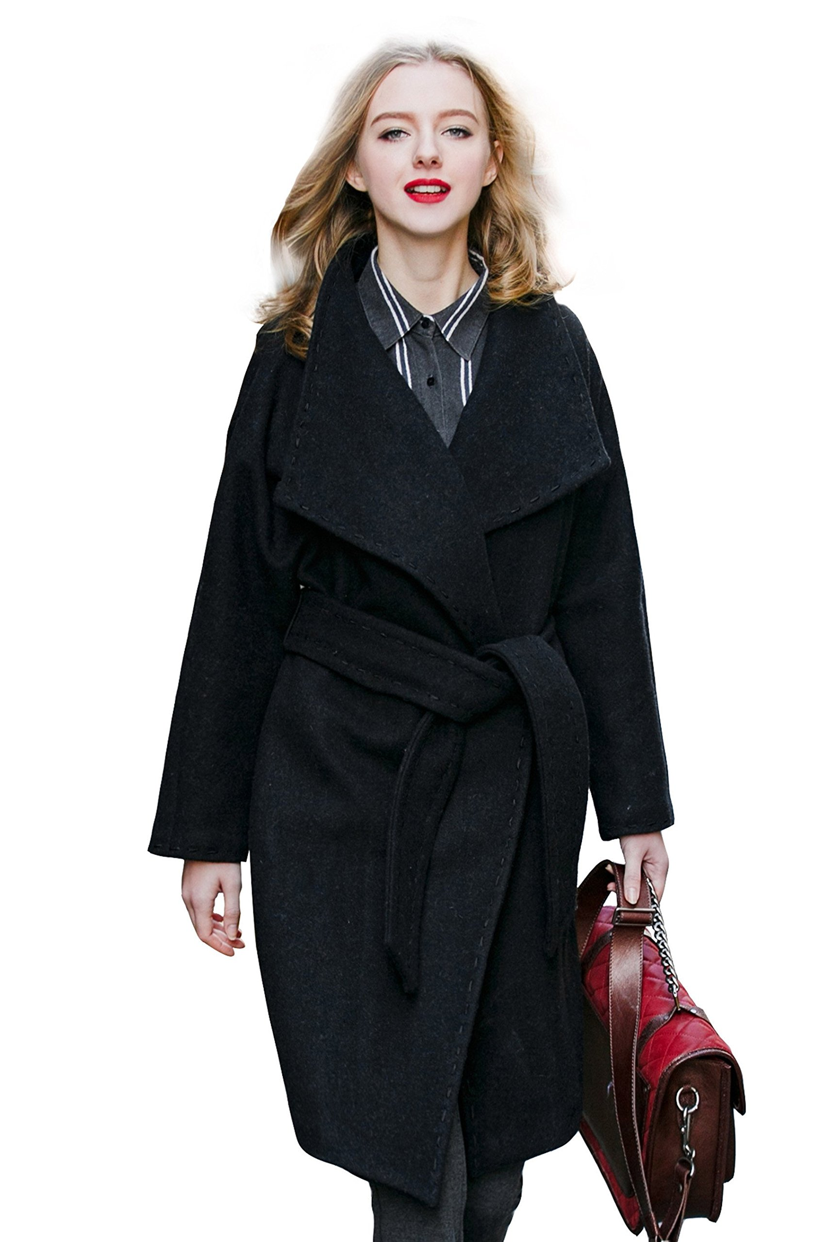You.U Women's Wool Blend Coat Lapel Collar Loose Fit with Raglan Sleeve Black Size L