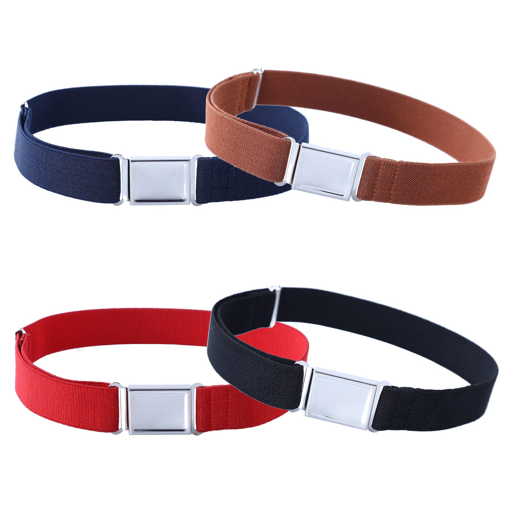 4PCS Kids Boys Adjustable Magnetic Belt - Elastic Belt with Easy Magnetic Buckle (Navy Blue/Brown/ Red/Black)