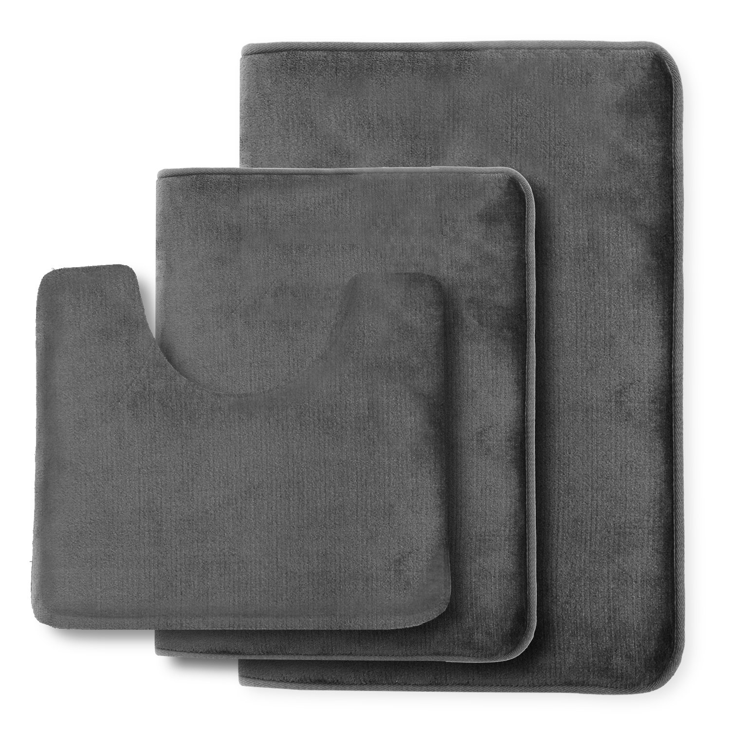 Clara Clark Non Slip Memory Foam Tub-Shower Bath Rug Set, Includes 1 Small Size 17 x 24 in. 1 Large Size 20 X 32 in. 1 Contour Rug 24 x 19 In. - Gray by Clara Clark