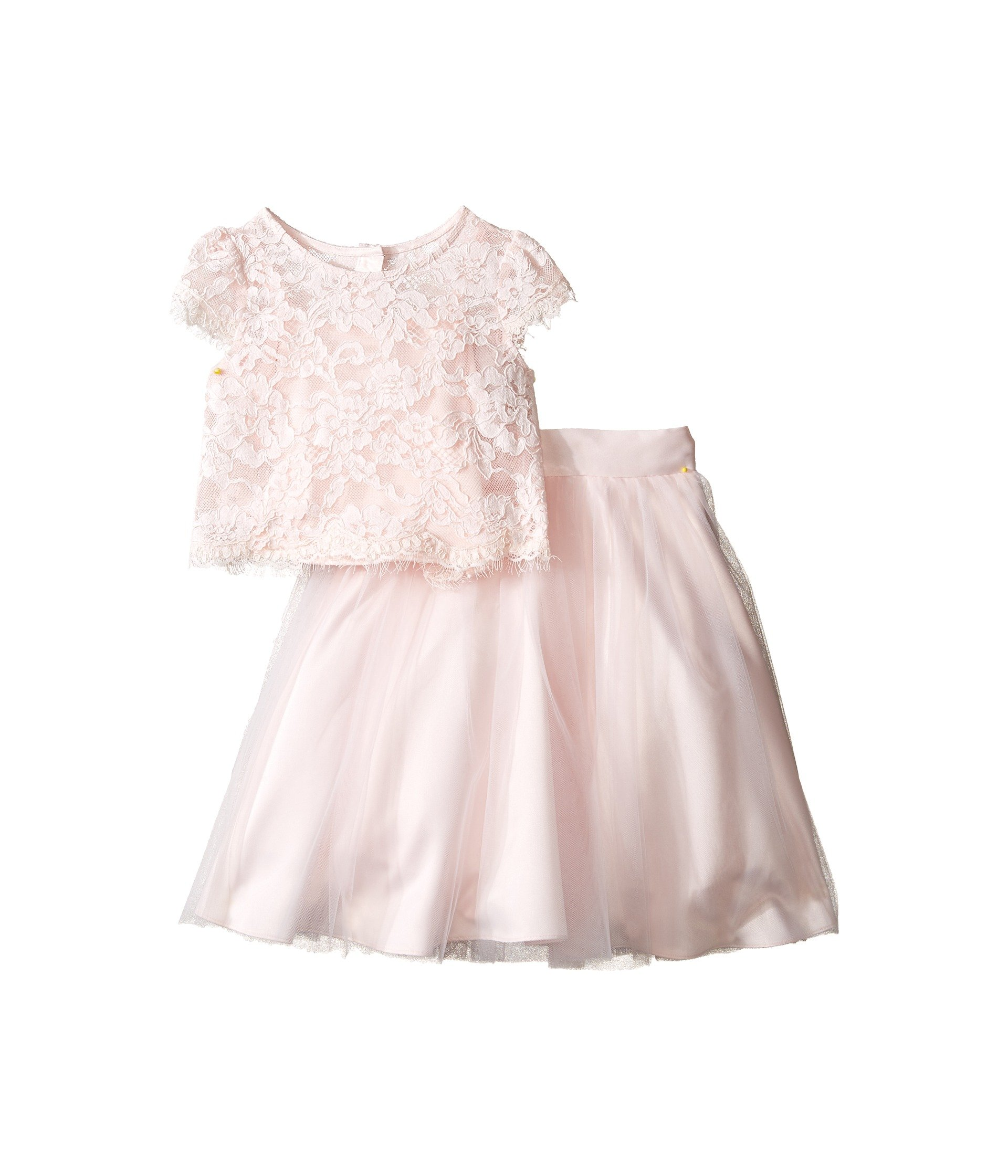 Us Angels Little Girls' 2pc Lace Top and Tulle Skirt, Blush, 4