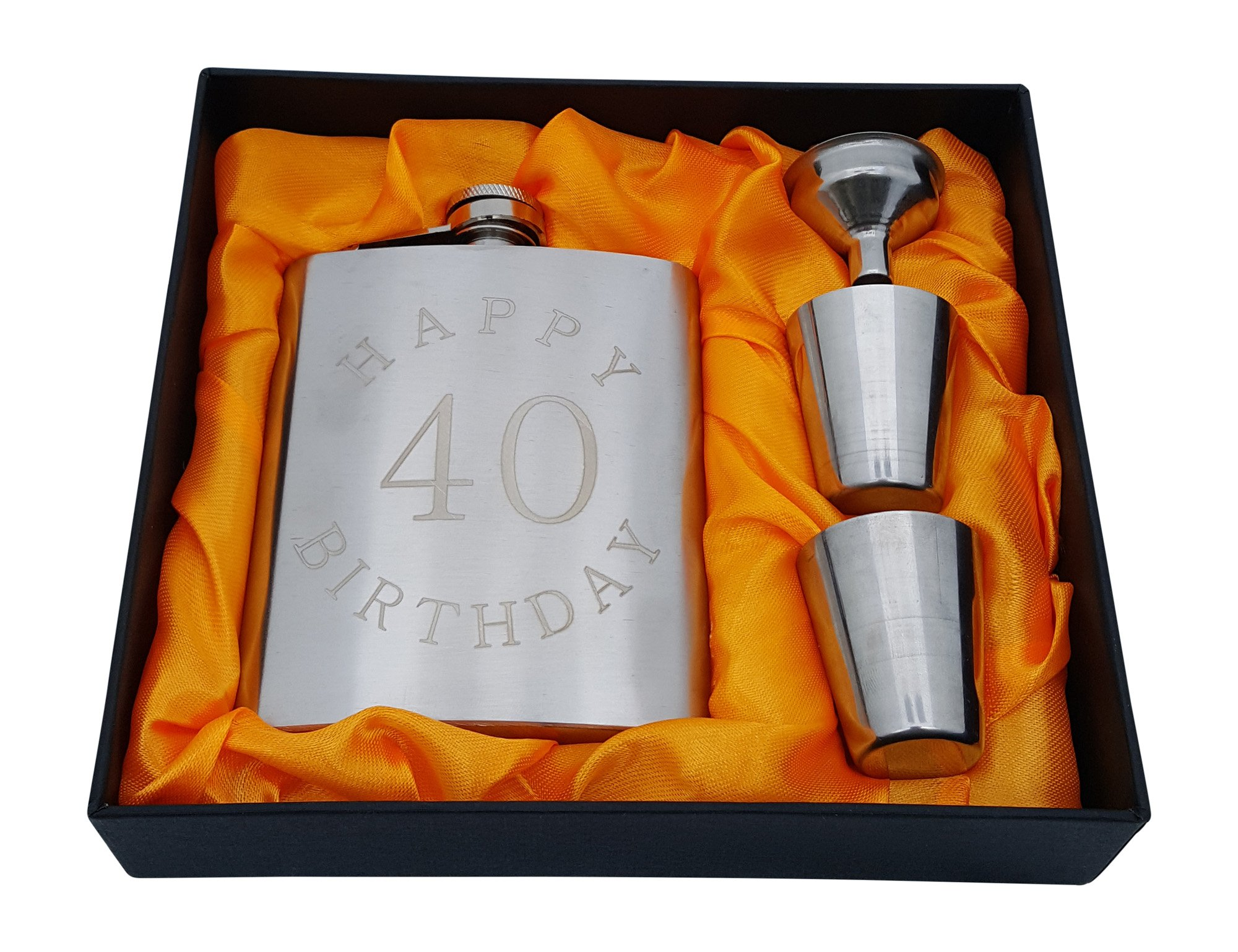 40th Birthday Flask Gift Set - 7 oz Flask Engraved with''Happy 40 Birthday''