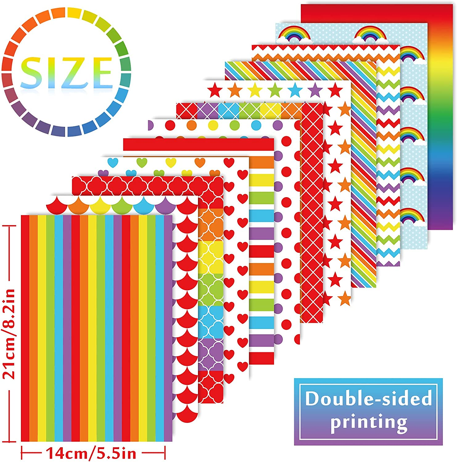 60 Sheet Whaline Rainbow Color Paper Set Colorful Heart Star Stripe Wave Pattern Craft Scrapbook Paper Double-Sided Origami Paper A5 Size Decorative Paper for Gay Pride Card Die Cuts Making