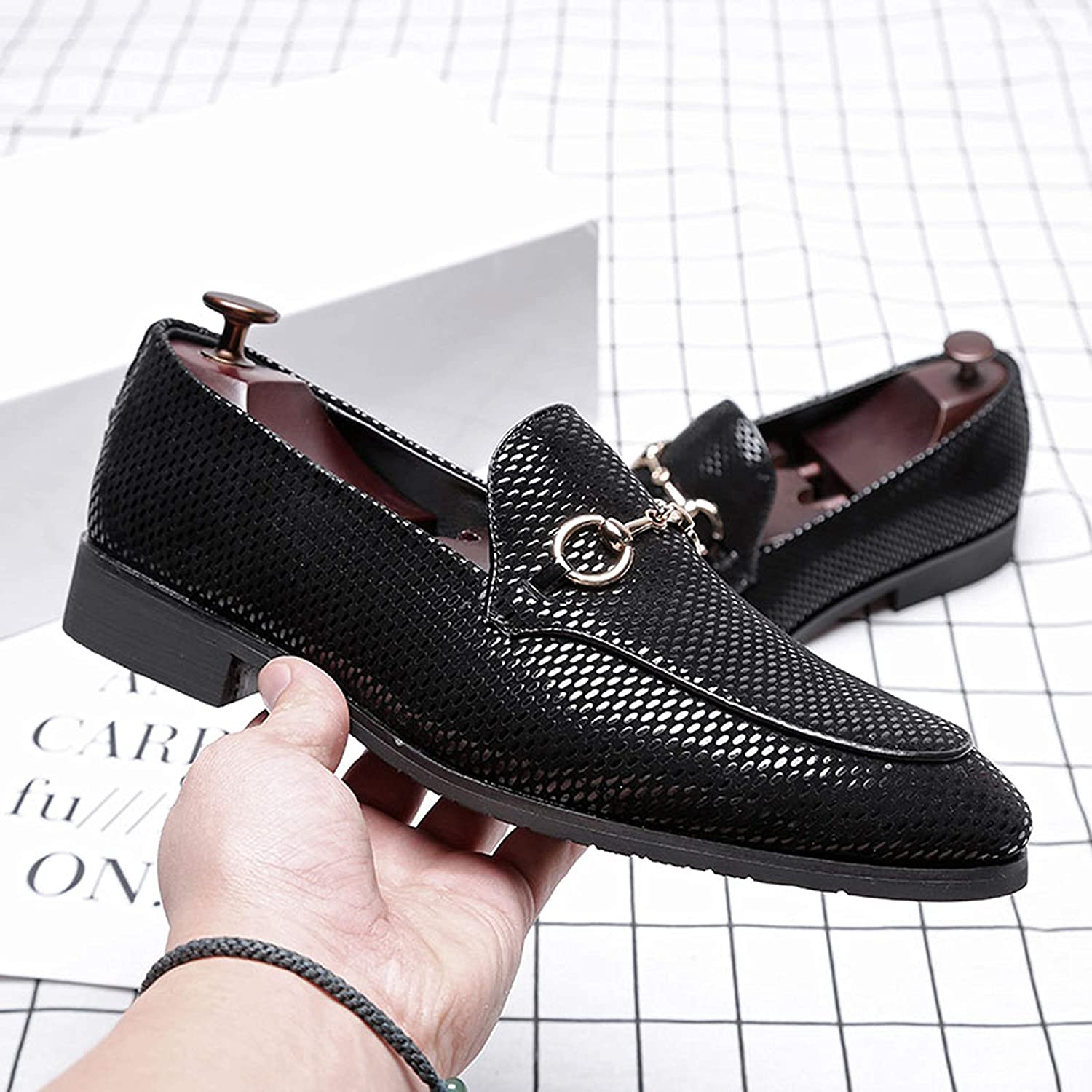 LEOED Men Loafer Metallic Smoking Slipper Pointed Toe Low Heel Leather Wedding Party Shoes Glossy Dress Shoes Size 6-11
