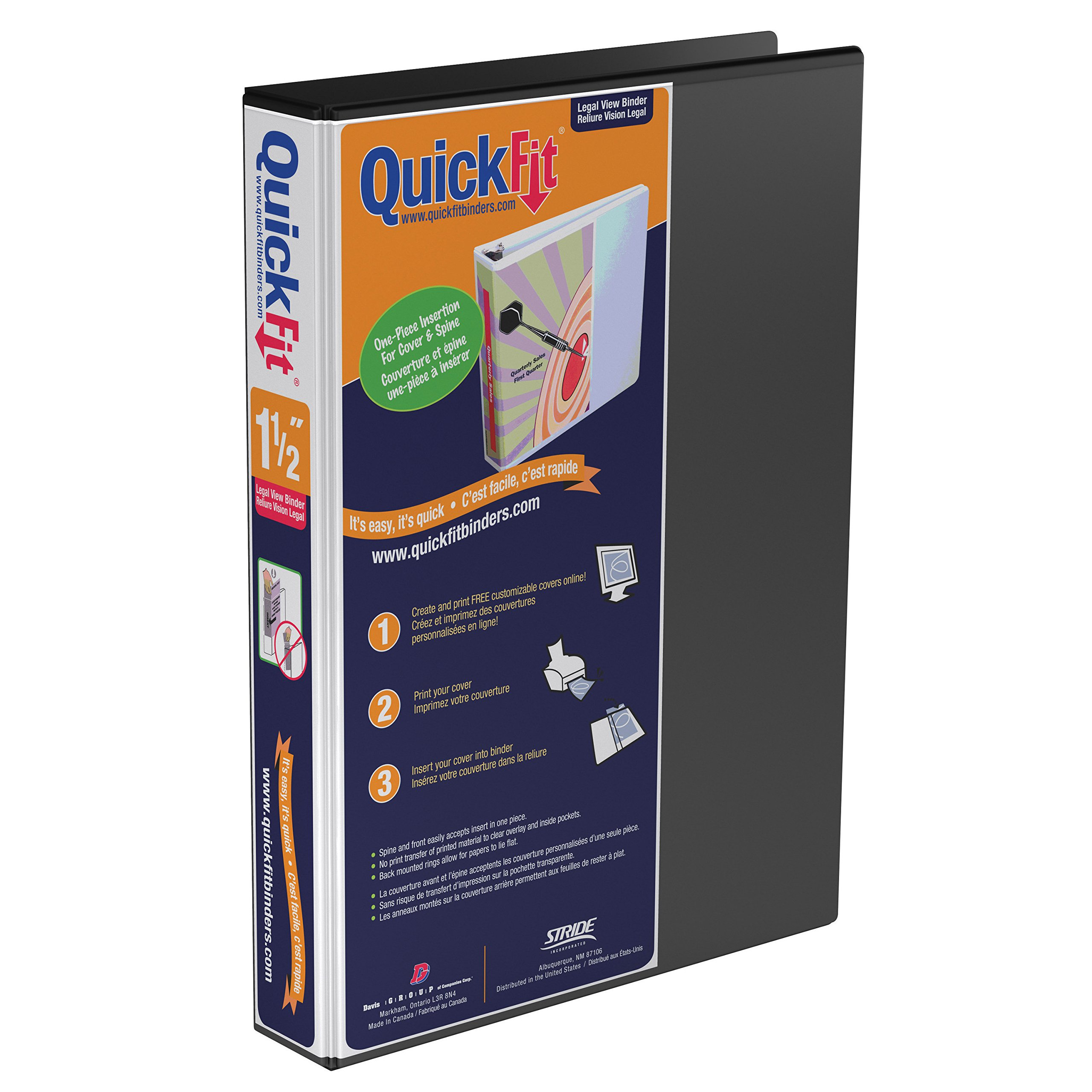 QuickFit Heavy Duty 14 x 8.5 Inch Portrait Legal View Binder, 1.5 Inch, Angle D Ring, Black (95021P)