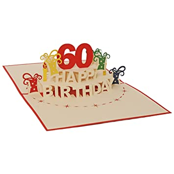 Favour Pop Up Greeting Card For 60th Birthday Round An Original 3D