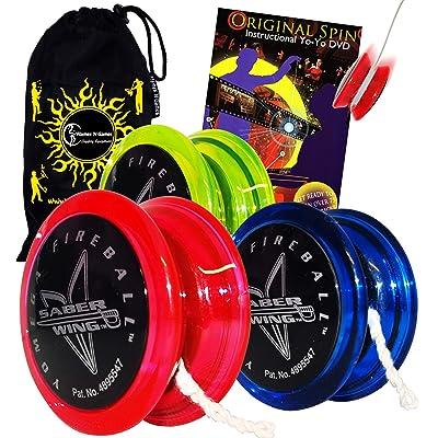 Yomega Fireball Saber-Wing Flared Shaped Yoyo with Starburst Response System - Supreme Quality Medium Yo-Yo for Kids & Adults + Original Spin DVD + Travel Bag! (Black/Green): Sports & Outdoors