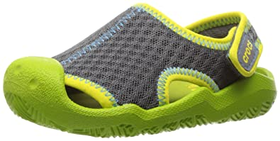6e41675b8686 Crocs Swiftwater Mesh Sandals Kids Grey (Graphite Volt Green) 6 UK Child (