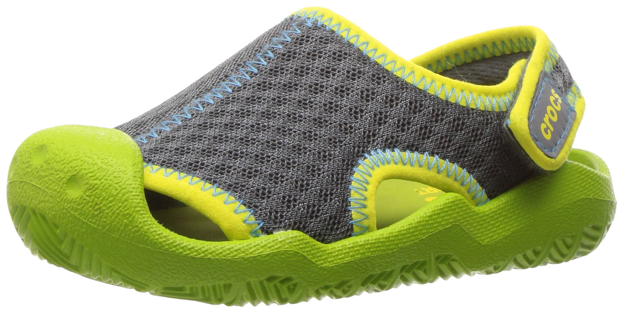 Crocs Kids' Swiftwater Sandal,Graphite/Volt Green,9 M US Toddler