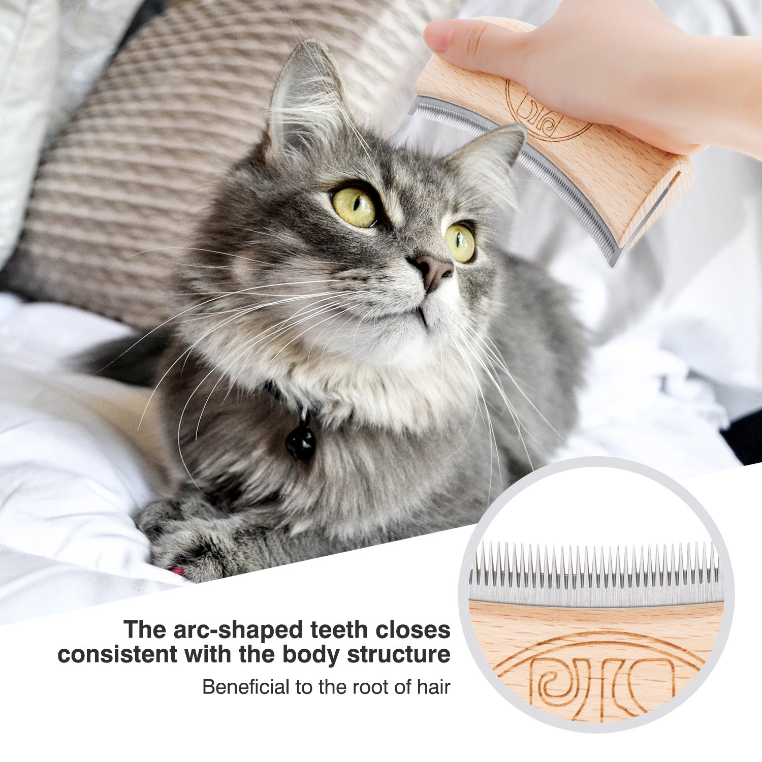 Made of Wood and Stainless Steel Static-Free Long-Life Safety Cat Shedding Comb Use Easy Dog Brushes for Shedding Effective Shedding Brush Tool