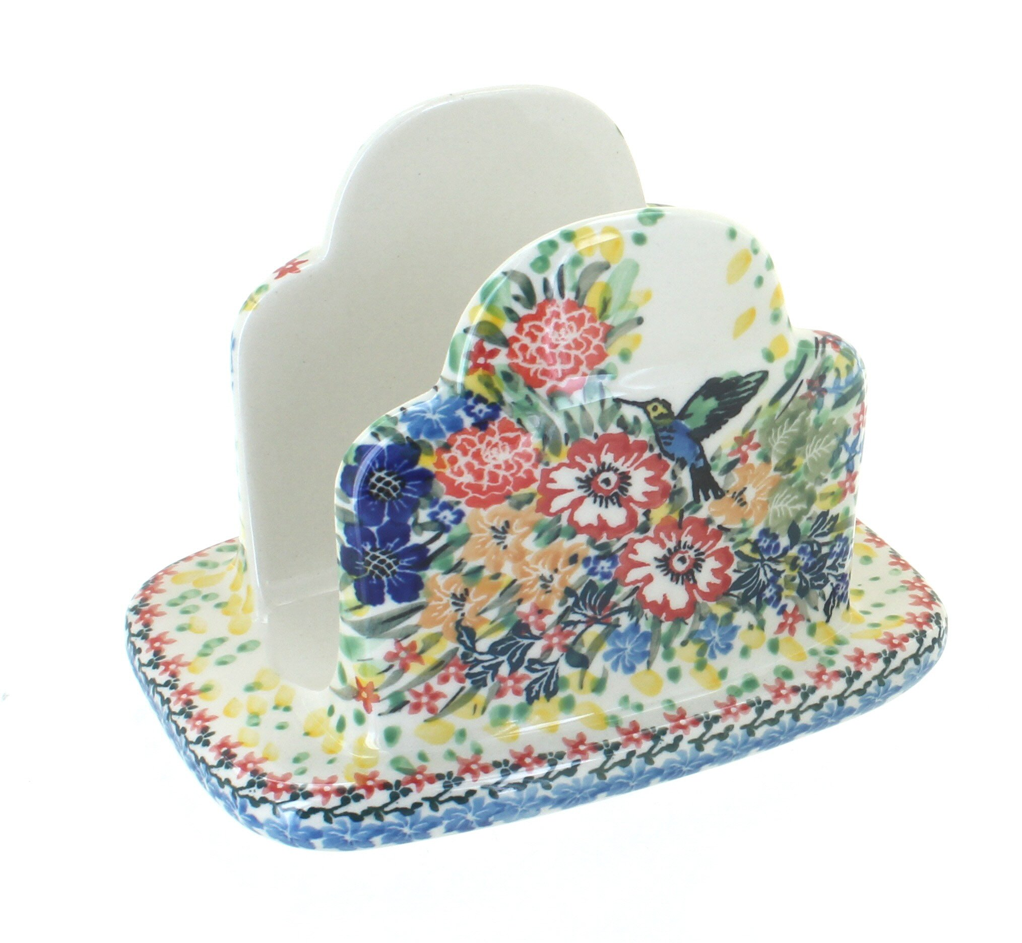 Polish Pottery Hummingbird Napkin Holder