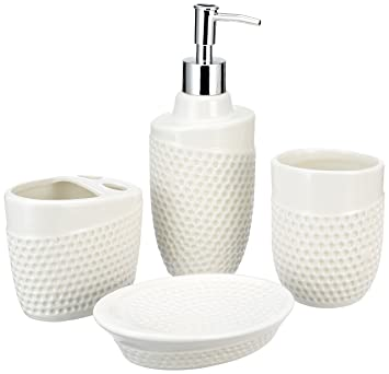 Miamour 4 Piece Ceramic Bathroom Accessories (White)