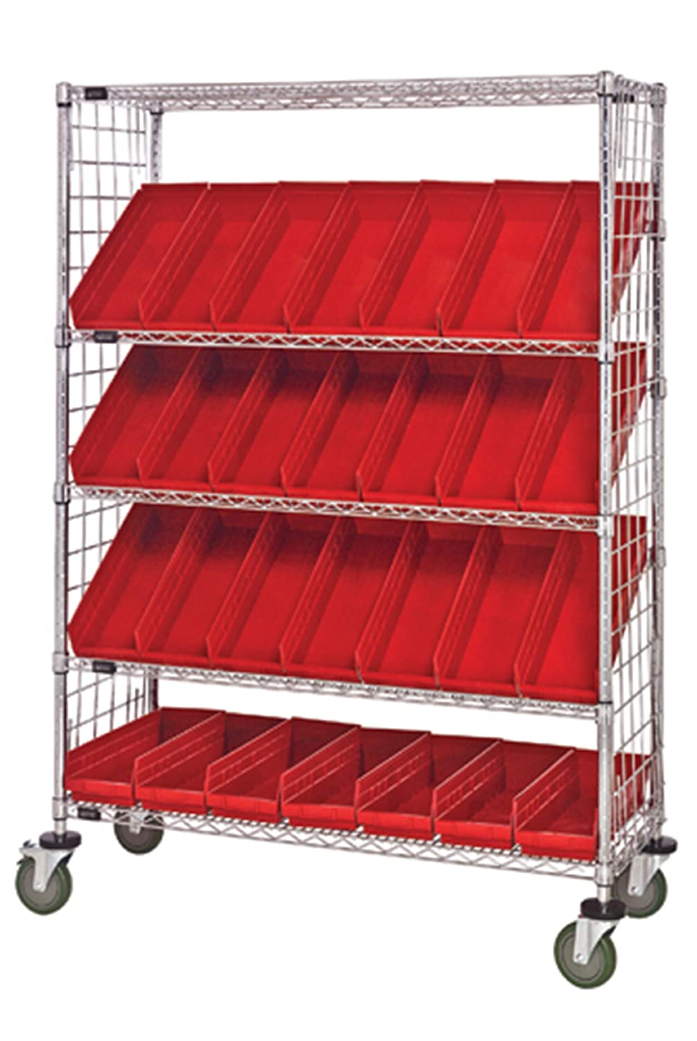 """B008I8AFXI Quantum Storage Systems WRCSL5-63-1848EP-104RD 5-Tier Slanted Wire Shelving Suture Cart with 28 QSB104 Red Economy Shelf Bins, Enclosed, 2 Horizontal and 3 Slanted Shelves, Chrome Finish, 69"""" Height x 48"""" Width x 18"""" Depth 81vEz5vSZiL._SL1500_."""