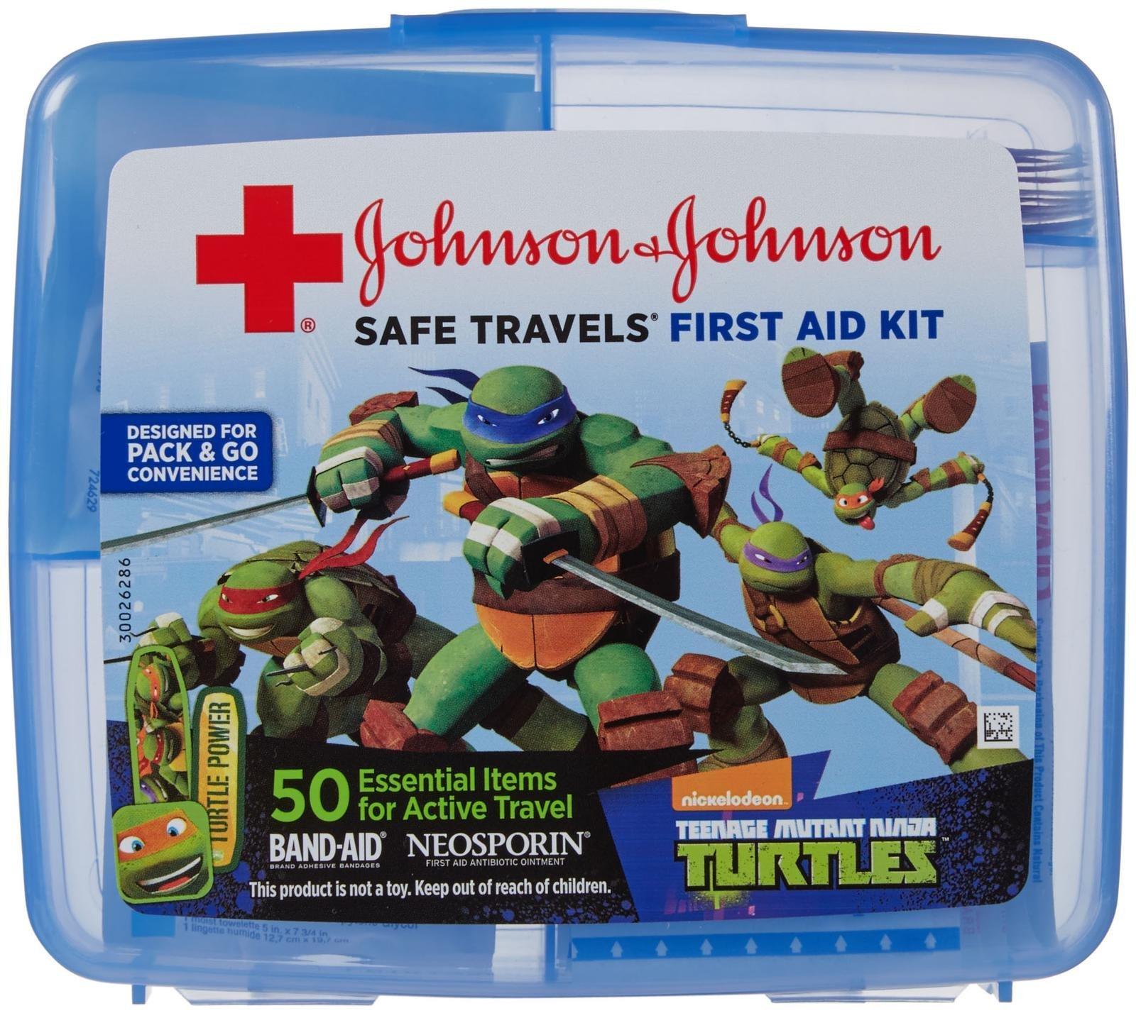 Johnson & Johnson Red Cross SAFE TRAVELS First Aid Kit-Teenage Mutant Ninja Turtles-50 ct