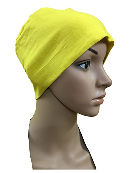 32030d0d4fd YELLOW COTTON CAPS CHEMO BEANIES CANCER CAPS WOMEN SUMMER CHEMO CAPS SLEEP  TURBAN FOR WOMEN UNDERSCARF