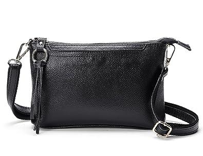DOURR Women s Small Genuine Leather Cross Body Shoulder Bag Clutch Purse ( small, black) f935c44f1e