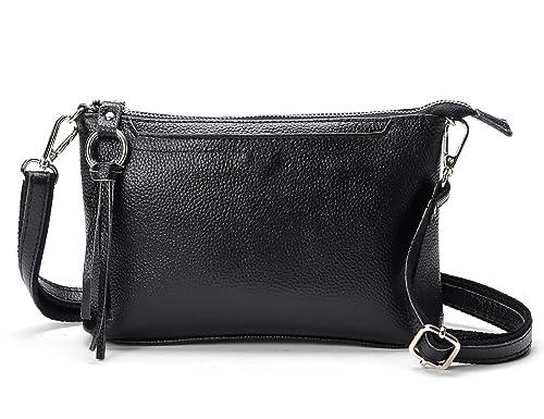d406497756 DOURR Women's Small Genuine Leather Cross Body Shoulder Bag Clutch Purse ( small, black): Handbags: Amazon.com