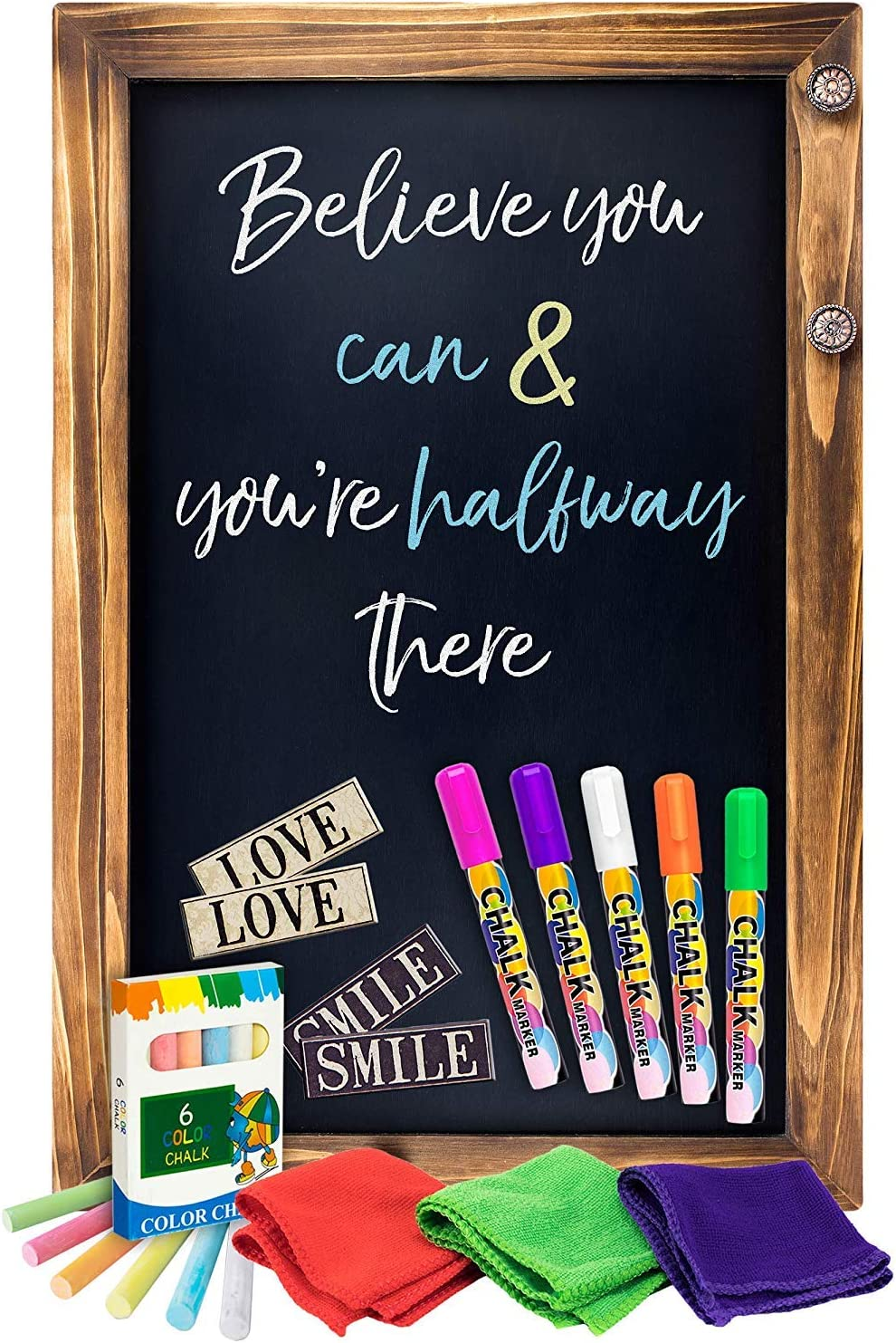 """Shefio Large Framed Chalkboard Sign - Wall Hanging Magnetic Blackboard with  Rustic Handmade """"Burnt"""" Wood Frame. For Home or Business. 20x30 Inches - ..."""