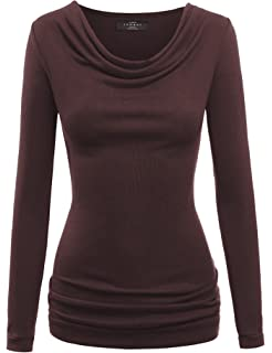 3ee5aa3588aa1e Doublju Soft Knit Cowl Neck Blouse Top for Women with Plus Size ...