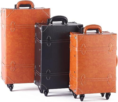 MOIERG suitcase Vintage Trolley Luggage TSA Camel Large 81-55040-72