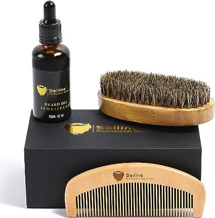 Kit para el cuidado y corte de barba, para hombres de SAILINE; cepillo para barba,peine,