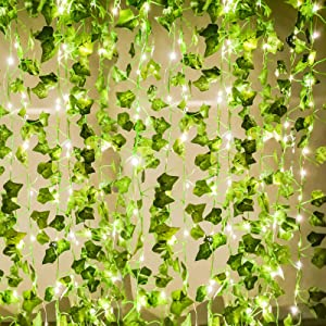 Joyhalo Fake Ivy with Strings - Vines Artificial Ivy Leaf Plants, Silk Ivy Garland Greenery Artificial Hanging Plant for Party Garden Outdoor Wedding Wall Decor (12 Strands 94 ft)