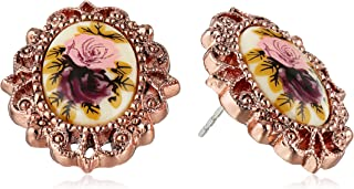 """product image for 1928 Jewelry """"Victorian Revival"""" Golden Rose Stud Earrings"""
