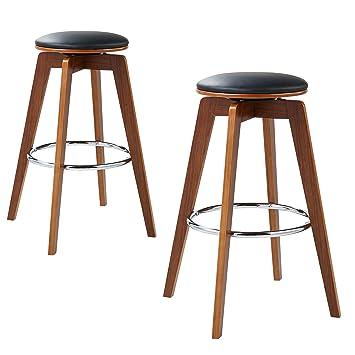 Groovy Versanora Vnf 00032 Elegante Stylish Beautiful Industrial Modern Vintage Bentwood Set Of 2 Bar Stools Black Walnut Leg Pu Leather Chrome Ring Dailytribune Chair Design For Home Dailytribuneorg