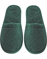 Arus Men's Turkish Organic Terry Cotton Cloth Spa Slippers, One Size Fits Most, Hunter Green with Black Sole