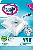 Handy Bag - Y98 - 4 Sacs Aspirateurs, pour Aspirateurs Moulinex, Chromex et Taurus, Fermeture Hermétique, Filtre Anti-Allergène, Filtre Moteur