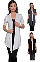 Free to Live Women's 3 Pack Short Sleeve Light Weight Open Front Cardigans