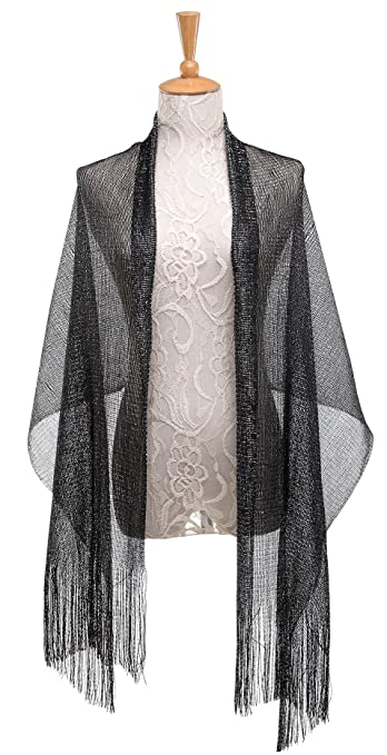 1920s Style Shawls, Wraps, Scarves 1920s Gatsby Weddings Evening ScarfsSheer Glitter Sparkle Piano Shawl Wrap for Evening Dress $9.99 AT vintagedancer.com
