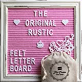 """Pink Felt Letter Board Rustic White Wood Farmhouse Vintage Frame and Stand by Felt Creative Home Goods 