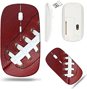 Liili Wireless Mouse White Base Travel 2.4G Wireless Mice with USB Receiver, Click with 1000 DPI for notebook, pc, laptop, computer, mac book Professional Football Texture and Laces Close Up for Sport