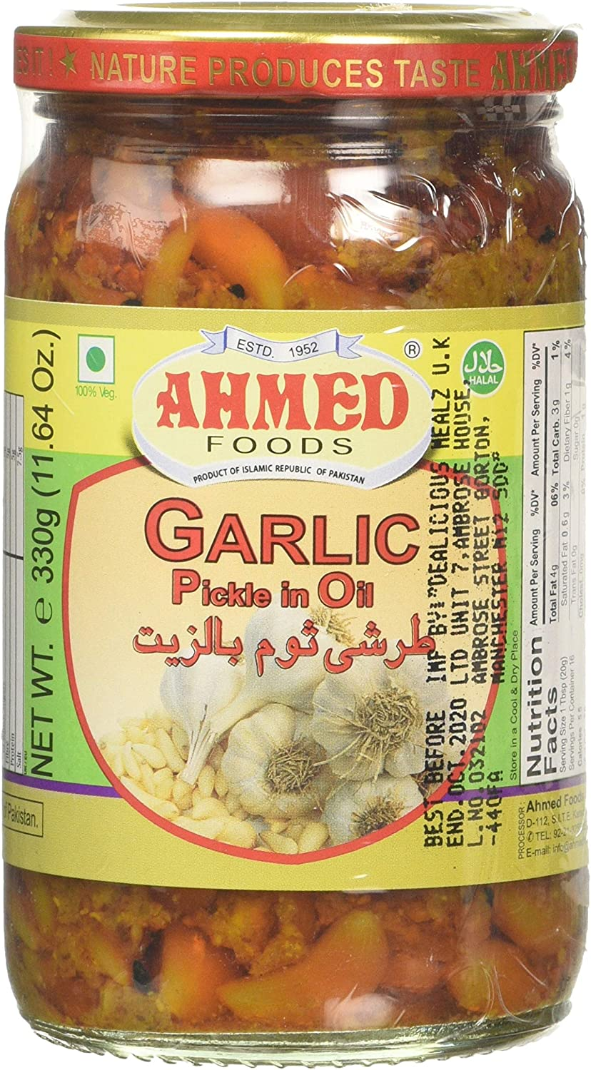 Ahmed Foods Garlic Pickle in Oil, 330 g: Amazon.co.uk: Grocery