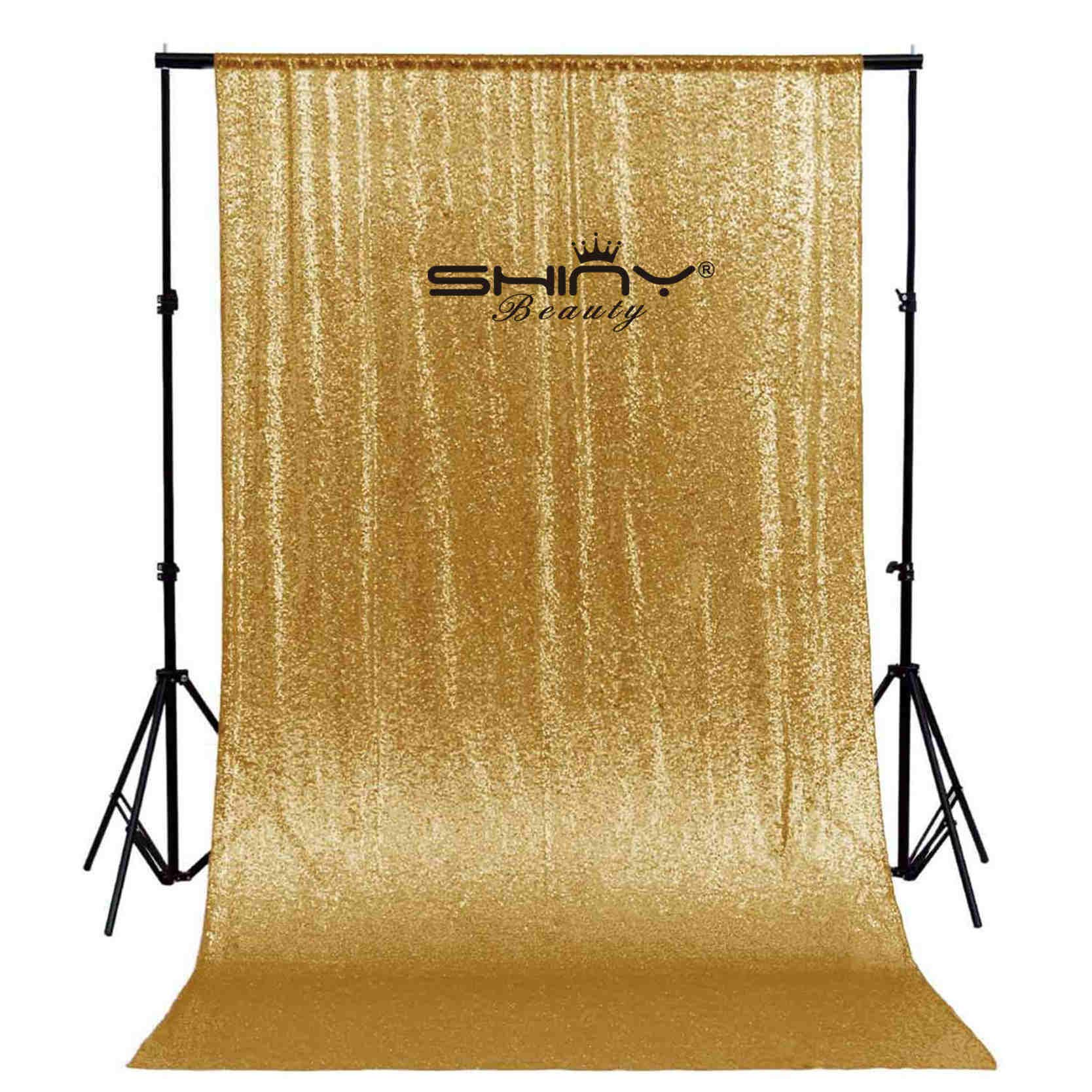 ShinyBeauty Sequin Backdrop 10FTx10FT-Gold,Sequin Curtain for Backdrop Photo Booth Party Props Glitter Sequin Fabric Weddig Background (10FTx10FT, Gold)