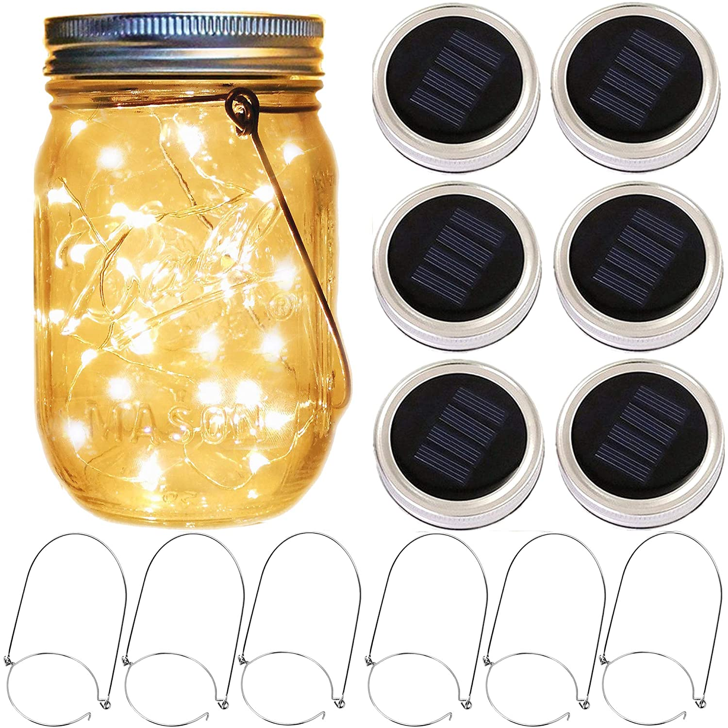 Solar Mason Jar Lantern Lights,6 Pack 20 Led Fairy Solar Firefly Jar lids Lights,6 Hangers 16 Feet Hemp Rope Included (No Jar),Outdoor Mason Jar Patio Garden Wedding Table Decor Solar Lanterns Light