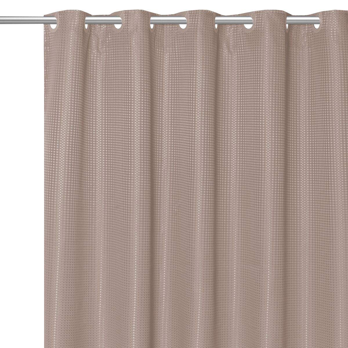 DN_LIN Stylish EZ ON Waffle Weave Fabric Shower Curtain with Snap Off Liner 70''x75''- Taupe.