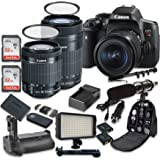 Canon EOS Rebel T6i Digital SLR Camera with Canon EF-S 18-55mm f/3.5-5.6 IS STM Lens + Canon EF-S 55-250mm f/4-5.6 IS STM Lens + 2pc SanDisk 32GB Memory Cards + Battery Grip