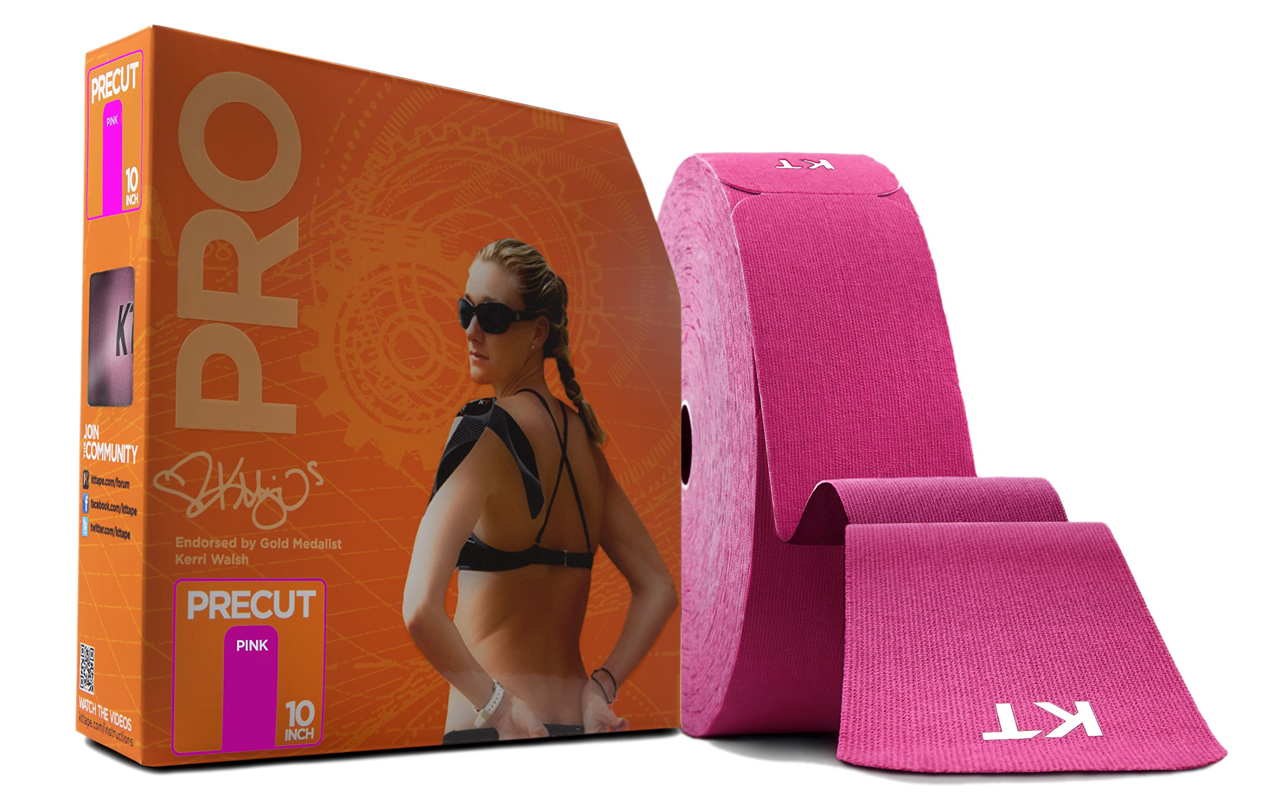 KT Tape PRO Synthetic Elastic Kinesiology Therapeutic Tape, Jumbo 150 Precut 10 Inch Strips, Pink
