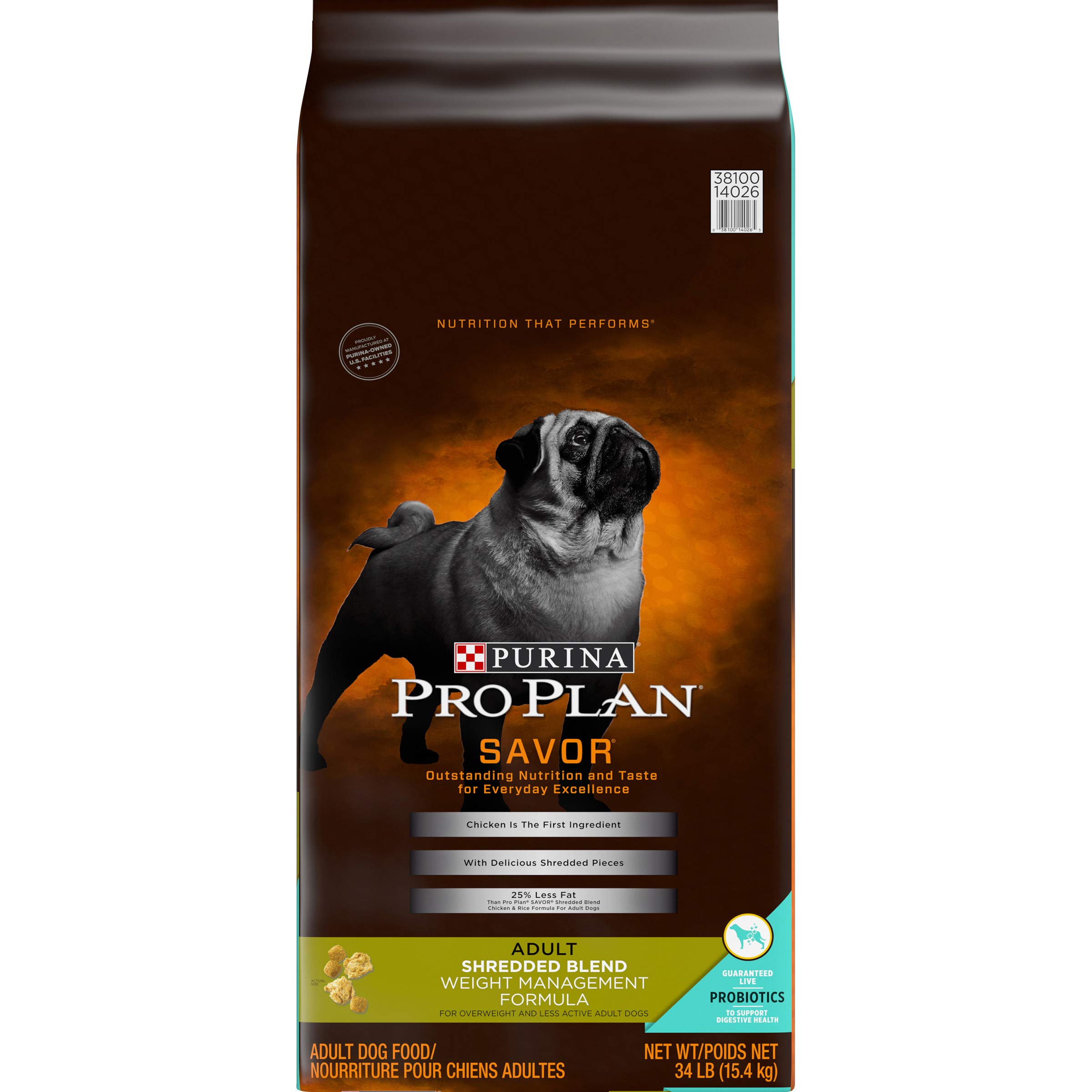 Purina Pro Plan Weight Management Dry Dog Food, SAVOR Shredded Blend Weight Management Formula - 34 lb. Bag