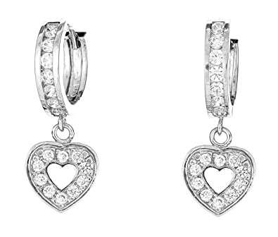 a41b5926d Image Unavailable. Image not available for. Color: Ritastephens Sterling  Silver Open Heart Dangling Huggy Huggie White Cubic Zirconia Earrings ...