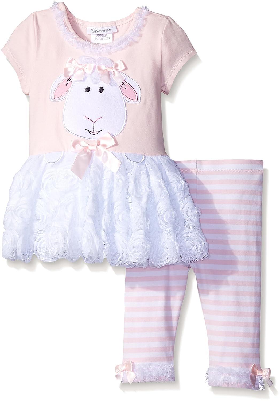 Bonnie Jean girls Lamb Appliqued Playwear Set 739-PS