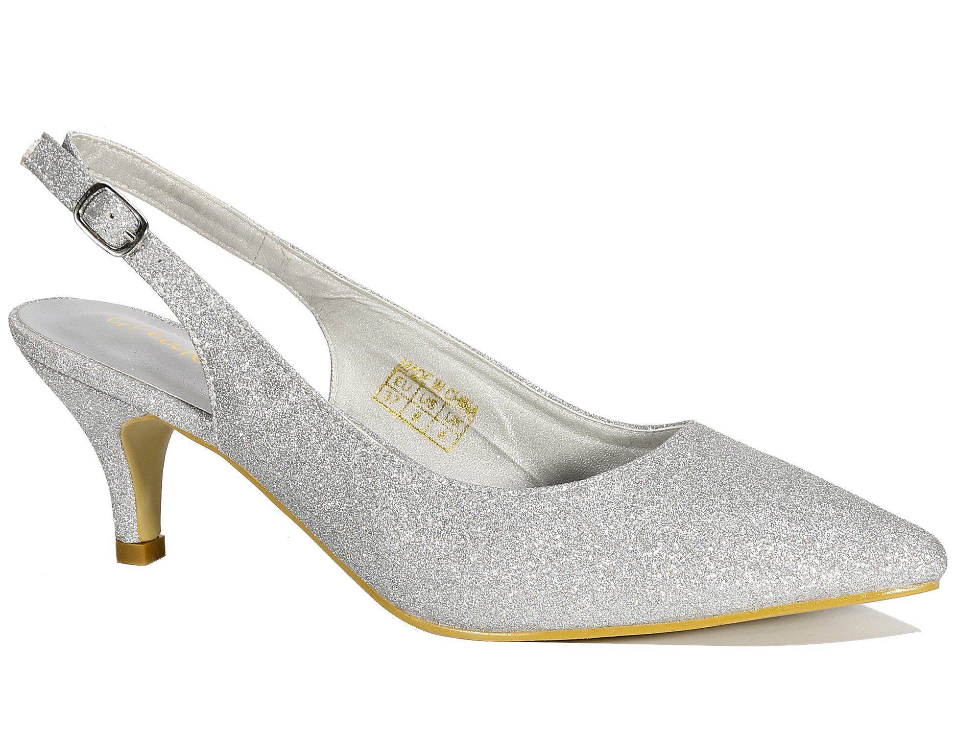 b81abce599054 Greatonu Women Shoes Silver Glitter Kitten Heels Slingback Dress Pumps Size  6.5