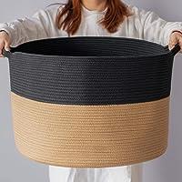 INDRESSME XXXLarge Cotton Rope Basket Woven Baby Laundry Basket Blanket Basket Toy Basket with Handle Comforter Cushions…