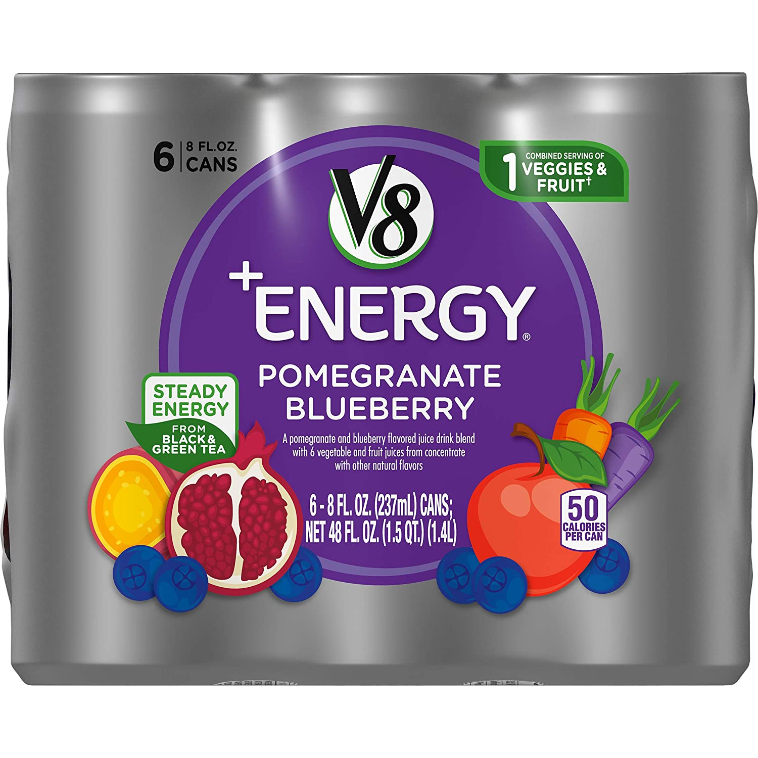 V8 Energy Review >> V8 Energy Healthy Energy Drink Natural Energy From Tea Pomegranate Blueberry 8 Ounce Can 4 Packs Of 6 Total Of 24