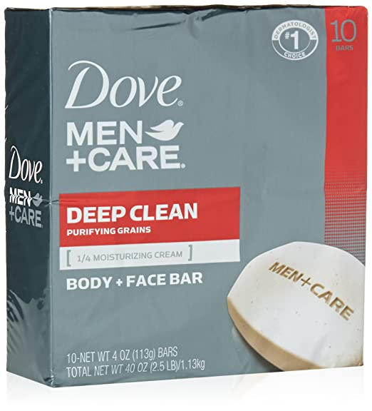 Dove Men+Care Body and Face Bar, Deep Clean 4 oz, 10 Bar