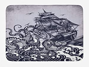 """Ambesonne Nautical Bath Mat, Octopus and Ship in a Storm Marine Elements with Wavy Ocean, Plush Bathroom Decor Mat with Non Slip Backing, 29.5"""" X 17.5"""", Blue Purple"""