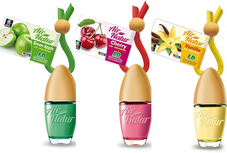 3 Stylisch Modische Air Natur Little Bottle Duftflakons Lufterfrischer Auto Und Raumduft 6ml 1x Apple Apfel 1 X Cherry Kirsche 1 X Vanille Garten