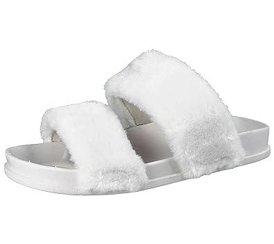 c4a9e425f4bbc6 Ladies ELLA Faux Fur Trim Double Strap Fashion Sliders Peep Toe Flat Slip  On Sandals Mules