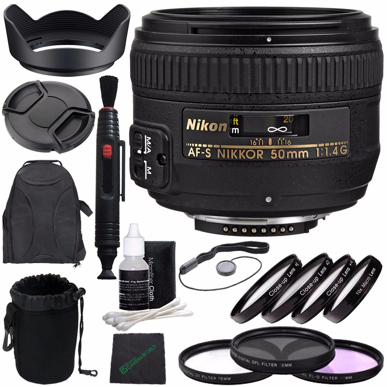 Nikon af-s Nikkor 50 mm f / 1.4gレンズ+ 58 mm 3 PieceフィルタセットUV、CPL、FL) + 58 mm + 1 + 2 + 4 + 10クローズアップマクロフィルターセットwithポーチ+レンズキャップ+レンズフード+レンズクリーニングペンバンドル  2. Backpack Kit B01LYCJ1MY